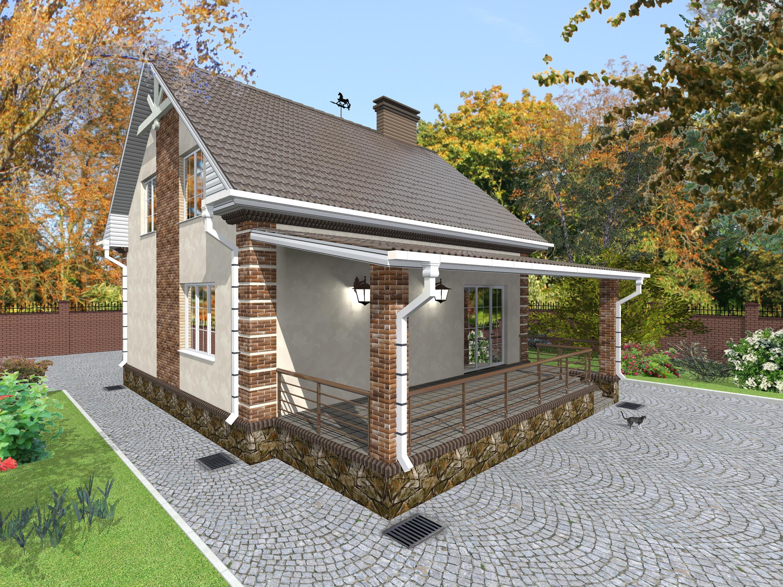 Проекты домов с мансардой и террасой картинки